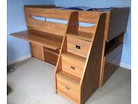 Single Cabin Bed by Gautier with integrated drawers, desk and storage