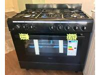 BRAND NEW 90CM / 900 MM FREESTANDING RANGE COOKER DUAL FUEL IN BLACK ABSOLUTE BARGAIN ...!!!