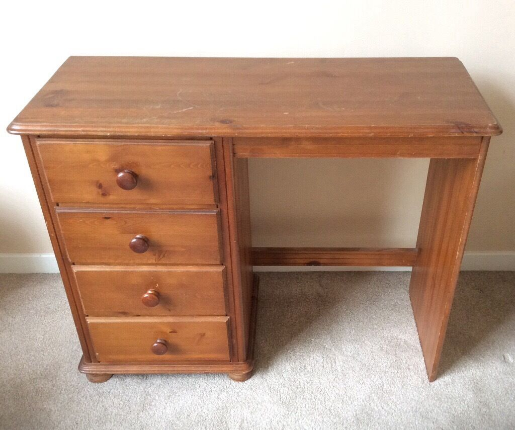 Solid Wood Desk With Four Drawers In East End Glasgow