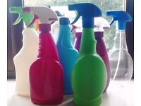 Job Lot of 8 Assorted Empty Multi Purpose Refillable Trigger Spray Bottles.