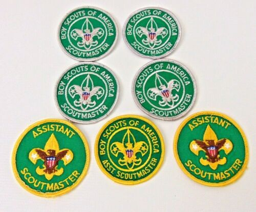 7 Vintage Boy Scout Patches  Boy Scouts of America Scout Master & Assistant Scou