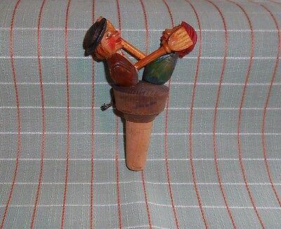 ANRI Antique Mechanical COUPLE BROOM SLAP HAND CARVED Bottle Stopper #37  Italy