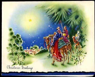 Vtg Christmas Card Three Wise Men Following Star of Bethlehem Pastels Used