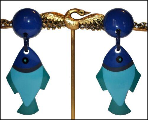 FRENCH DESIGNER BLUE RESIN DANGLING FISH CLIP ON EARRINGS