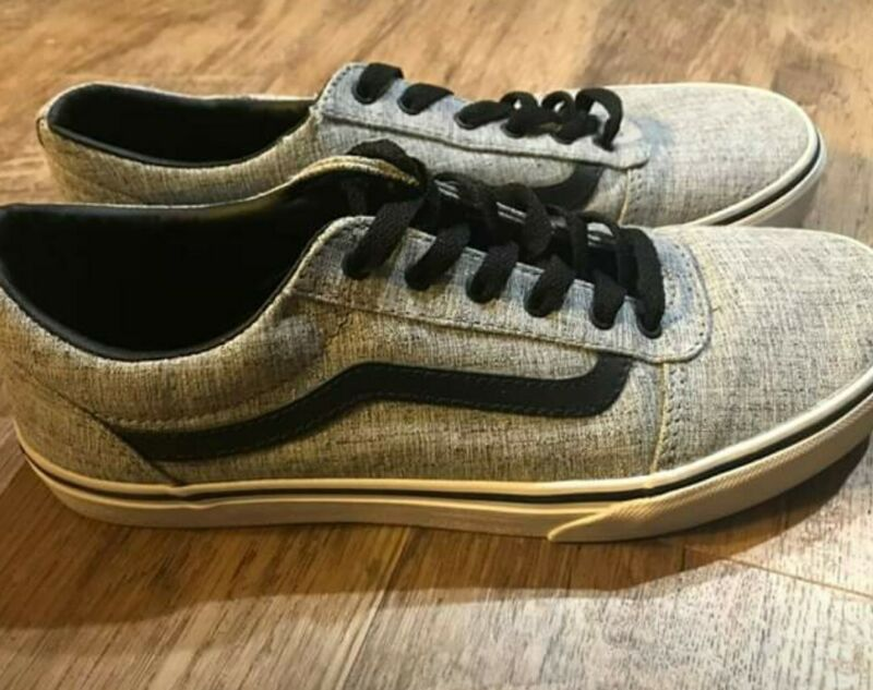 Vans Kids Old Skool Youth Size 7 Skate Gray Black Canvas Lace Up Shoes 500714
