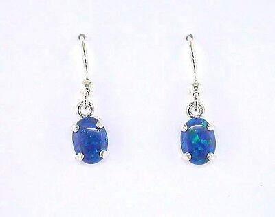 Created Opal 8 x 6 mm Oval Cabochon Sterling Silver Dangle Earrings