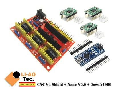 Nano V3.0 + CNC Shield V4 Expansion Board + 3pcs A4988 Stepper Motor Driver