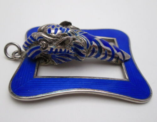 RARE VINTAGE GUCCI ITALY TIGER PENDANT, BLUE ENAMEL and STERLING SILVER