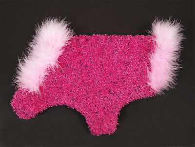 Glamorous Rose Pink Fuzzy Boucle Knit Dog Sweater w/ Boa Feather Trim Size XS](Fuzzy Boa)