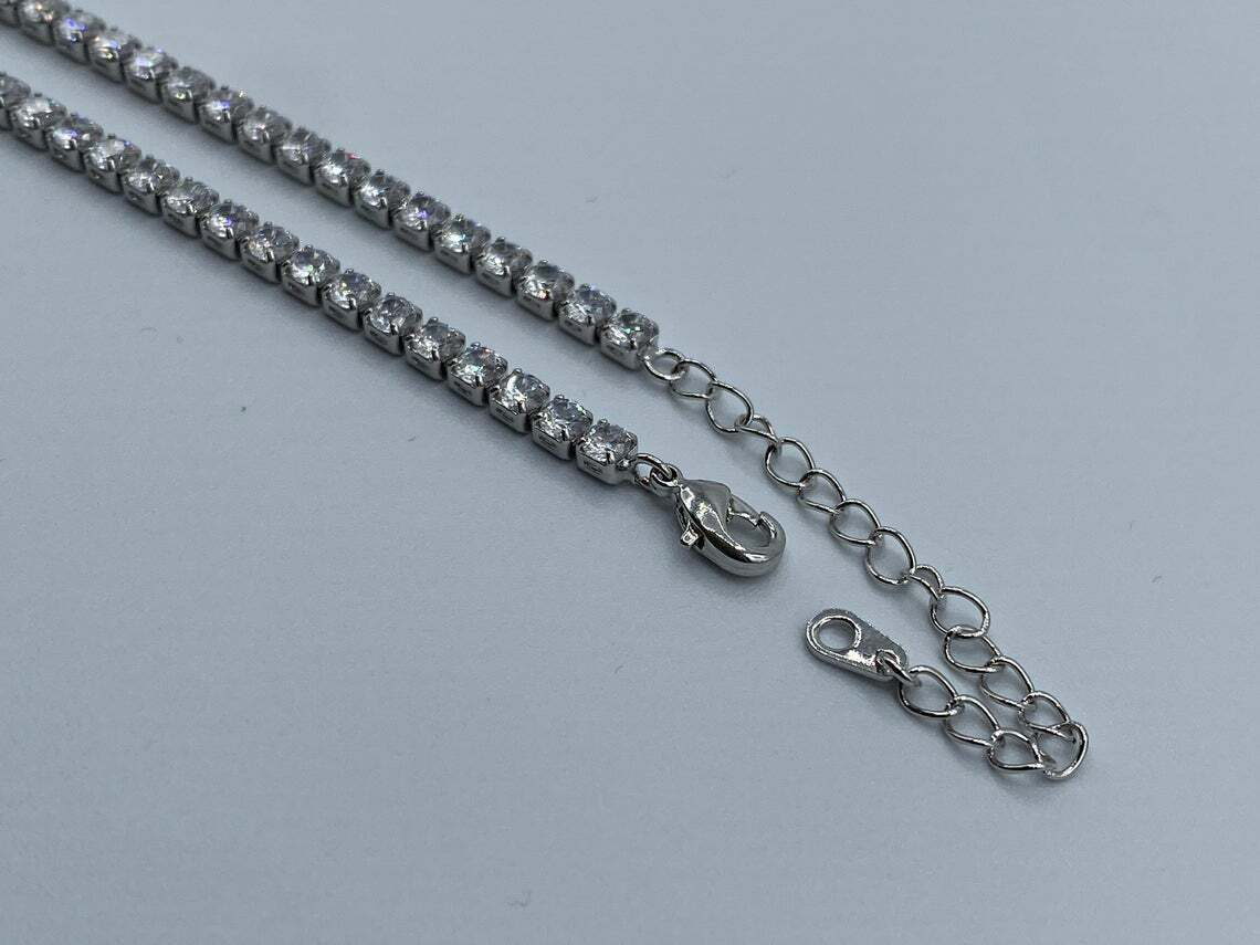 24Ct Round Cut Diamond Women's Tennis Necklace 925 Solid Sterling Silver 3mm 18 2