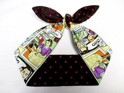 50's Retro Comics print dots headband head scarf hair wrap rockabilly dolly bow