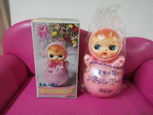 Vintage Roly Poly Japan Celluloid Baby Musical Toy Doll 10""