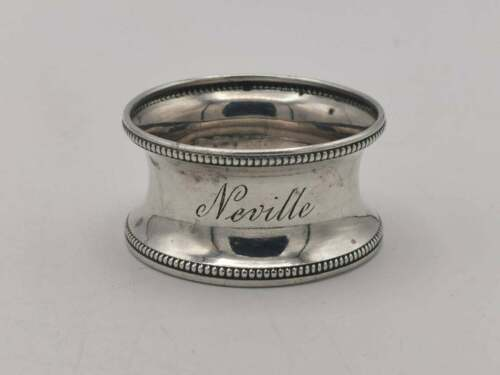 """Antique English Sterling Silver Napkin Ring """"Neville"""" name engraving d. 1919"""