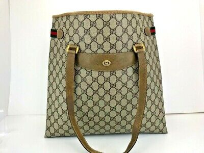 Auth GUCCI GG Web Sherry Line Shoulder Tote Bag PVC Leather Brown 56508740