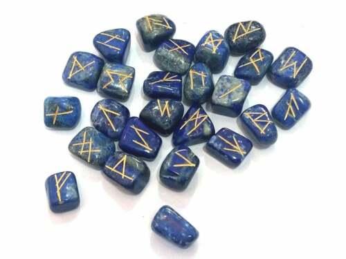 25 pcs Lapis Lazuli Stone Engraved Rune Stones Set for Reiki Healing Chakra Bala