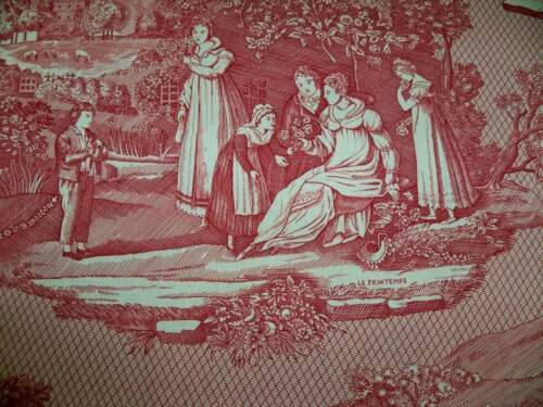 SCHUMACHER PASTORAL FRENCH COUNTRY SCENES TOILE FABRIC 10 YARDS DOCUMENT RED