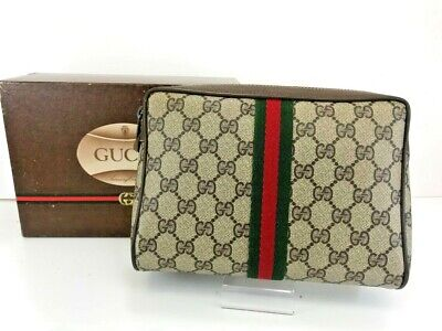 Authentic GUCCI Web Sherry Line pouch  GG PVC Leather Brown B422-331-5