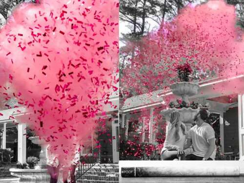 """ONE 24"""" gender reveal cannon PINK and TWO 11.8"""" PINK powder & confetti"""
