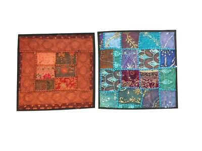 Set Of 2 Indian Cushion Covers Vintage Patchwork Decorative Pillow Cover 16x16