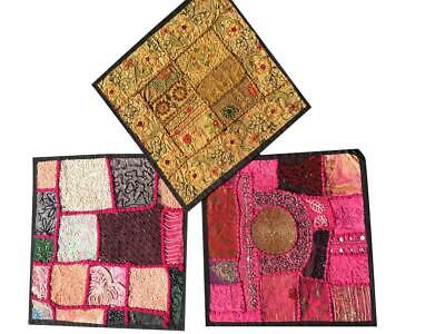 3 Pcs Ethnic Cushion Cover Patchwork Embroidered Cotton Square Pillow Cases16x16