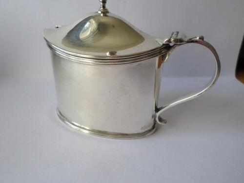 Victorian sterling silver hallmarked 1898 mustard condiment pot blue glass liner
