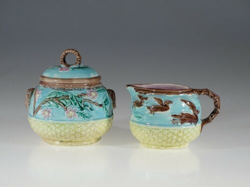 Majolica Antique Turquoise with Birds Cream & Lidded Sugar Set, England c. 1880