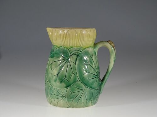 Majolica Arsenal Pottery Rare Water Lily Flower & Pads Pitcher, U.S.A., c.1890