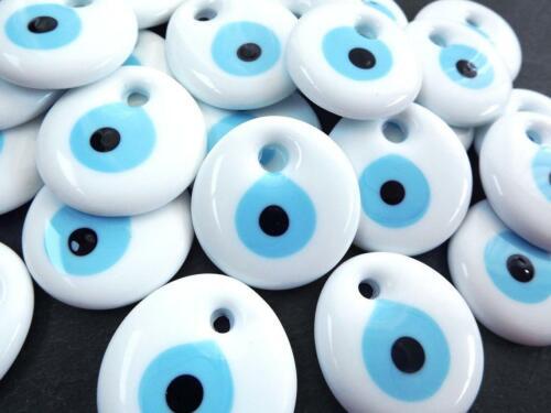 10 Pieces White Turkish Greek Evil Eye Nazar Good Luck Charm Amulet 1.25 IN