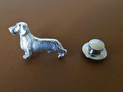 Small Sterling Silver Wire-haired Dachshund Standing Study Lapel Pin