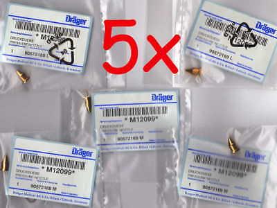 5x DRÄGER MEDICAL Druckdüse Düsen Ersatzteil Injector Nozzle Set Spare Part Oxy