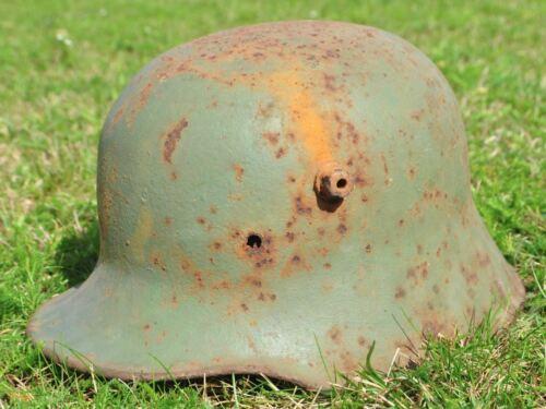 WWI Germany German Original War Relic Combat Damaged Helmet M16 RARE GREEN PAINT
