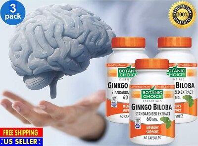 #1 Best Ginkgo Biloba Extract 60mg Supports Brain Health Supplement 180