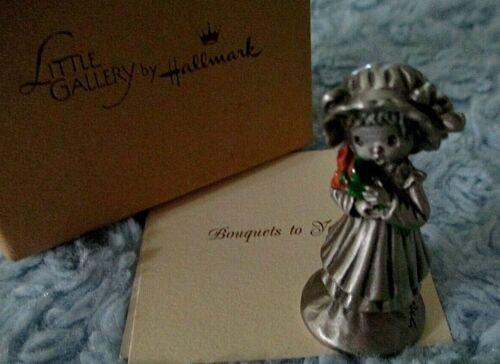 Hallmark 1981 BOUQUETS TO YOU Girl Tulips Hamilton Mini Pewter USA Figurine NIB
