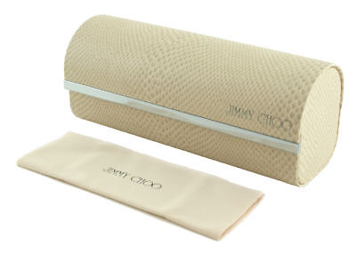 Brand New Jimmy Choo White Hard Pouch Eyeglasses Case Authentic Cleaning Cloth S