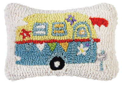 """Used, Chandler 4 Corners - Lil Camper Glamper  8"""" x 12""""  Hooked Pillow 167LILCAMPER for sale  Lombard"""