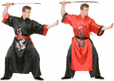 ADULT JAPANESE SAMURAI WARRIOR KUNG FU NINJA DRAGON MASTER COSTUME BLACK RED  (Japanese Samurai Costumes)