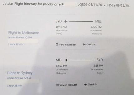Sydney to Melbourne (return)
