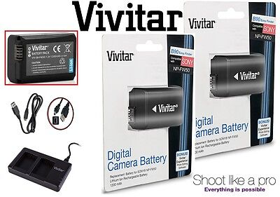 2-Pc NP-FW50 Li-Ion Battery & Dual USB Charger For Sony A6000 A3000 A5000 A6300