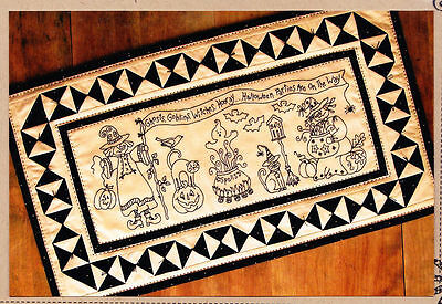 WITCHES HOORAY TABLE RUNNER HAND EMBROIDERY PATTERN By Bird Brain Designs
