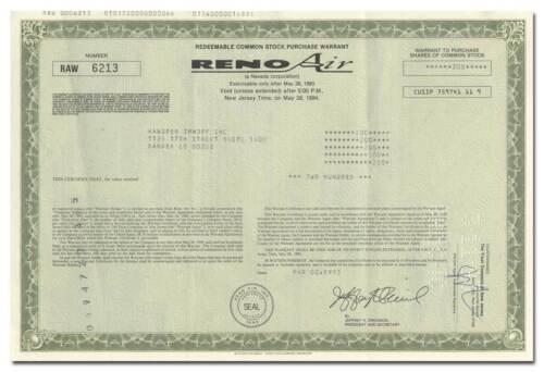 Reno Air, Inc. Stock Certificate
