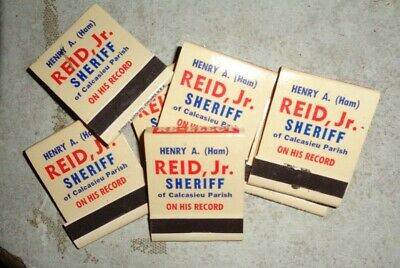 7 VINTAGE HENRY A. REED SHERIFF ADVERTISING MATCH BOOKS LOUISIANA POLITICS #
