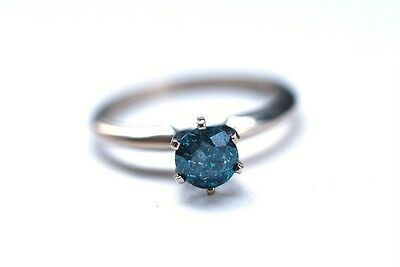 14K White Gold 1/2 cttw Blue Diamond Solitaire Ring Size 6.5