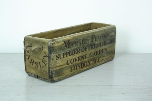 VINTAGE WOODEN CRATE TRUG BOX INDUSTRIAL PLANTER RH10 PARSLEY COVENT GARDEN