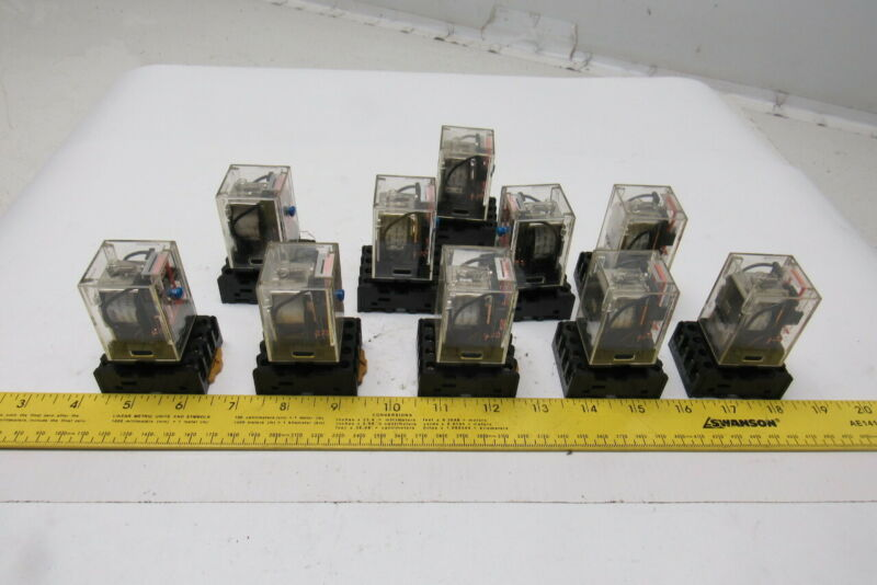 Omron MK2P-S 250VAC 28VDC Ice Cube Relay W/ Socket 24VDC Control Coil Lot Of 10