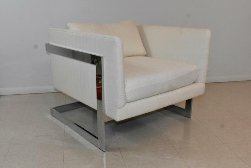 Mid Century Modern Floating Frame Chrome Chair Att. Milo Baughman
