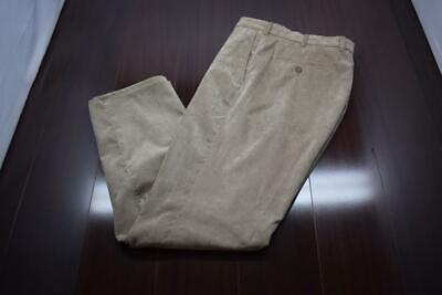 31672 Mens Peter Millar Golf Nanoluxe Tan Flat Corduroy Dress Pants Sz 36 x 32 Mens Corduroy Dress Pants