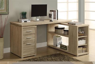 Corner L-Shaped Computer Desk Workstation Natural Finish Reclaimed Look (Natural Corner Desk)