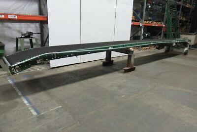 Dematic 24w Belt 90fpm Steep Adjustable Incline Flat Slider Bed Conveyor 306
