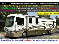 2014 Thor Motor Coach Palazzo Palazzo Diesel Pusher Motorhome 33.2 4 Color White