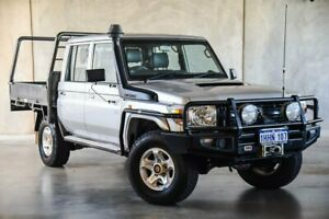 2012 Toyota Landcruiser VDJ79R MY13 Workmate Double Cab Silver 5 Speed Manual Cab Chassis